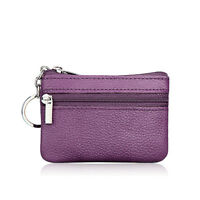 Lady Men Genuine Real Leather Wallet Small Coin Card Change Purse Key Ring Pouch