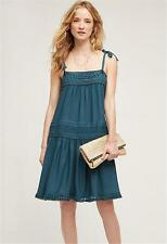 ANTHROPOLOGIE Floreat NWT Senna Dress Swing A-line Fringe Hem Teal Green XS $138
