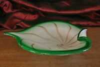 Vintage Leaf Tray Hand Blown Murano Art Glass Green and White with Gold Sparkles