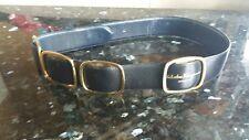 SALVATORE FERRAGAMO  Belt Black Leather With Gold Buckle  MEDIUM