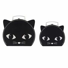 Set of 2 Black Cat Suitcases Cute Funky Kids Childs Bedroom Gift Novelty