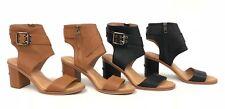 UGG Australia Claudette Leather Heeled Sandals Almond Black Side Buckle 1090433