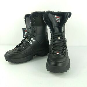 Womens Fila DISRUPTOR BOOT Winter Fur Lined Fasion Sport Boot Black/white/fred