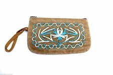 Vintage  Suede Change Purse Embroidered Brown & Turquoise