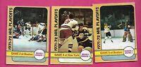 3 X 1972-73 OPC BRUINS VS RANGERS PLAYOFFS  CARD  (INV# C2651)
