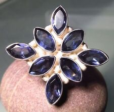 Huge sterling silver cocktail cut blue iolite ring UK S¼-½/US 9.25