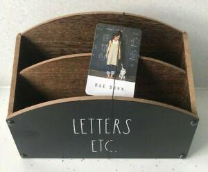 BNWT RAE DUNN Letter Rack Letters Etc Wooden Desk Tidy Storage Note Holder