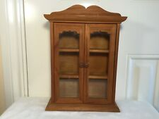 Vintage small freestanding or wall hanging collectors pine & glass cabinet.