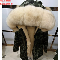 real blue fox fur hood with rabbit fur lining parka coat cuff and placket option