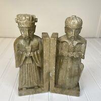 Vintage Hand Carved Soapstone Warrior & Scholar Bookends