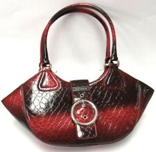 VITTORIO Stunning Tote, Snake Embossed Two Tone Shiny Red Blend,Dual Handle New