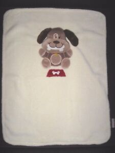 Blankets & Beyond Cream Brown Puppy Dog Baby Security Blanket Red Dish Bone