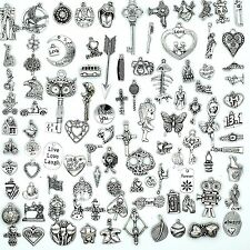 100PCS Mix Antique Silver Charm Pendant Collection, Vintage Jewelry Supply Lot,