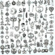 100PCS Mix Antique Silver Charm Pendant Collection, Vintage Jewelry Supply Lot,