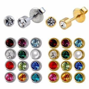 4mm Birthstone Studs Earrings Gold Silver Piercing Round Crystal Birthday Gem