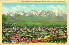 C40-0550, SALT LAKE CITY AND WASATCH MTNS, UT., POSTCARD.