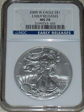 2008-W Burnished Silver Eagle NGC MS 70 Early Releases