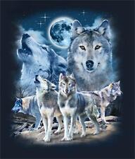 NIGHT WOLVES HOWLING WOLF MOON BLACK TEE SHIRT SIZE XL adult T295 tshirt  tees