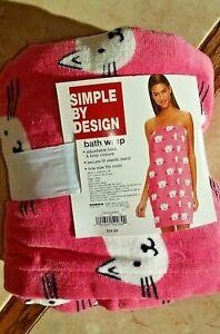 NWT Pink Cat Face Terry Cloth Beach Swim Cover-Up Wrap Dress Bath Body Towel