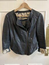 Muubaa Black Leather and Lace Jacket Size 10