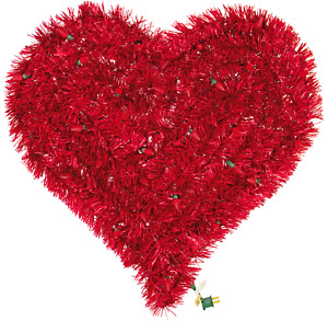 Pre-Lit Valentine's Day Tinsel Hearts with Lights Red Tinsel Brush 24in X 24in