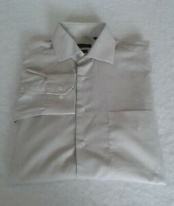 Men's Textured Cotton Rich Formal Business Shirt Long Sleeve In Stone Size 2XL