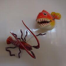 2 figurines aimantées poisson langouste vintage collection