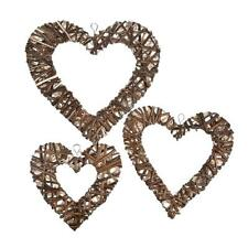 3PCS Wicker Woven Decoration Heart-shaped Wall Hanging Ornament Wedding Decor