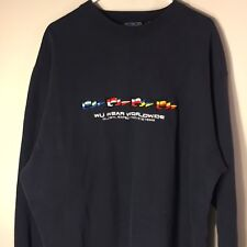 Vintage 90s Wu Wear Worldwide Wu Tang Clan Sweatshirt Navy Blue sz XL Vtg Rap
