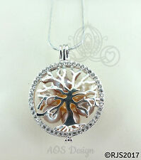 Family Tree Pearl Cage Crystals Bright Silver Plated Locket Tree of Life Chain