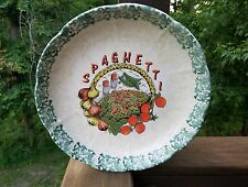 """Vintage Ceramic 12"""" Round Dish For Spaghetti Made In Italy Garlic Tomatoe Noodle"""