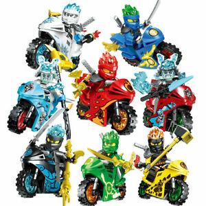 8Stk Ninjago Motorcycle Set Minifigures Ninja Mini Figures Blocks Toys Fits Leg