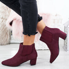 LADIES WOMENS CHELSEA ANKLE BOOTS LOW BLOCK HEEL POINTED TOE SMART OFFICE SHOES
