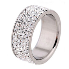 18k White Gold Plated White Crystals Fashion Wedding Party Band Ring Size 7 R35