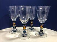 Mikasa Crystal Kensington Wine Glasses Amber Teal Blue Stems - Set of 4