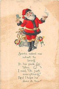 H62/ Santa Claus Christmas Postcard c1910 Smoking Pipe Toys 120