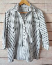 NONI B Top Sz 14 Large Button Shirt white grey black cotton