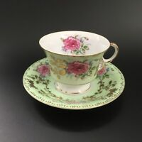 Royal Sealy China Pink Peony w/ Leaves Gold Gilt Footed Tea Cup & Saucer Set