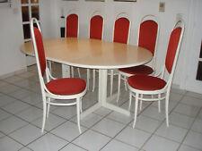Wunderschönes Esszimmer komplett - Tisch und 6 Stühle - Thonet, Buche weiß, matt
