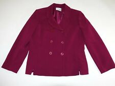 Le Suit Women's Double Breasted Blazer Jacket Size 16 Red Polyester Suit Coat