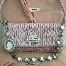 MIU MIU Auth Pink Matelasse Quilted Leather Iconic Flap Bag Crystal  2140  New! 2f1ec89f21246