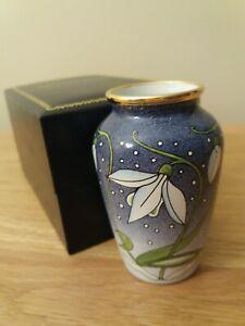 Moorcroft Enamel Miniature Vase - Snowdrop Pattern Boxed & Perfect  !