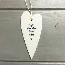East of India Porcelain Long Heart Hangers Happy Ever After Begins Today