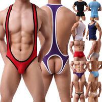 Men's Hollow Boxers Briefs Underwear Underpants Tank Top Vest T-shirt Leotard