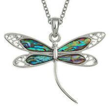 """Dragonfly Necklace Abalone Shell Filigree Pendant Silver Fashion Jewelley 18"""""""
