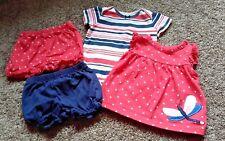 EUC Carter's Girls 4 Pc Bodysuit Shorts Summer Lot 6M Mix n Match Pink Dragonfly