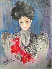 1990 signée Isa Célini Portrait Femme Pastel sec papier dry pastel Woman signed