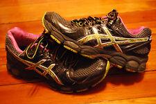 Women's Asics Gel Nimbus 14 Black / Pink / Green Running Sneaker (8)