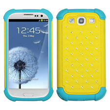 Samsung Galaxy S III S3 HYBRID IMPACT Dazzling Diamond Case Phone Yellow Teal