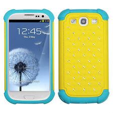 Samsung Galaxy S III S3 HYBRID IMPACT Dazzling Diamond Case Phone Yellow Teal